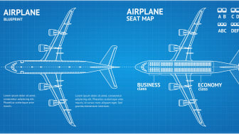 blueprint of airplane and seats
