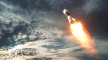 Cargo Carrier Rocket Takes Off To The Clouds. 3D Illustration.