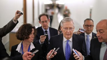 WASHINGTON, DC - NOVEMBER 30:Senate Majority Leader Mitch McConnell (R-KY) talks with reporters after leaving a tax reform news conference in the Dirksen Senate Office Building on Capitol Hil