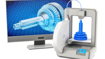 3d printer with computer monitor, 3D rendering isolated on white background