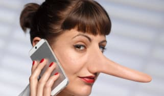 Suspicious-looking woman with a long nose