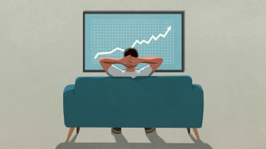 Drawing of a man sitting on a couch looking at a stock chart