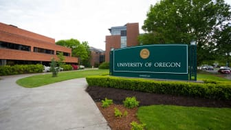 Main sign along Franklin Blvd at the University of Oregon in Eugene.