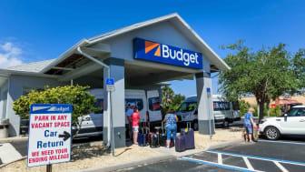 A Budget car rental stand