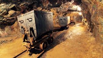 mining cart in gold mine