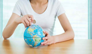 A woman with a globe