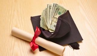 photo illustration of money and graduation cap