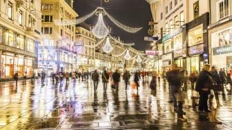 VIENNA, AUSTRIA - NOVEMBER 26: famous Graben street by night on November 26,2010 in Vienna, Austria. The Graben traces its origin back to the old Roman encampment of Vindobona.