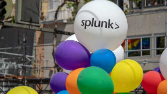 SAN FRANCISCO, CA JUNE 23, 2018: White Splunk logo on balloon in urban setting