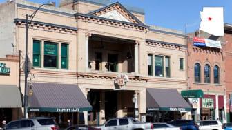 Store fronts in downtown Prescott, Ariz.