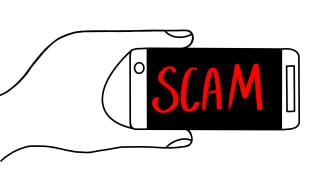 drawing of smartphone with scam written on the screen