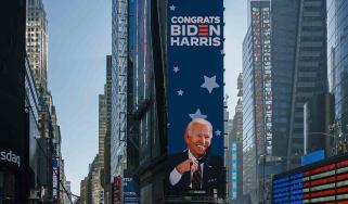 Times Square New York City with digital sign congratulating Joe Biden and Kamala Harris on winning the 2020 U.S. election