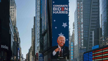 Times Square New York City with digital sign congratulating Joe Biden and Kamala Harris on winning the 2020 U.S. election