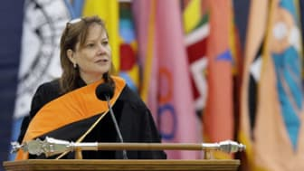General Motors CEO Mary Barra, addresses the University of Michigan graduates at a commencement ceremony Saturday, May 3, 2014 in Ann Arbor, Mich. Barra, the first woman to lead a major autom