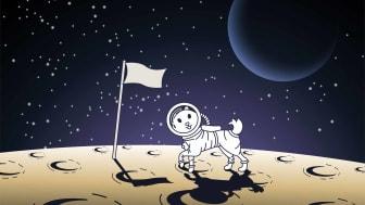 cartoon astronaut dog on moon