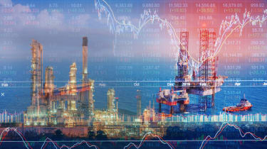 Stock market concept with oil rig in the gulf and oil refinery industry background,Double exposure