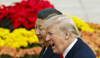 BEIJING, CHINA - NOVEMBER 9:U.S. President Donald Trump takes part in a welcoming ceremony with China's President Xi Jinping on November 9, 2017 in Beijing, China. Trump is on a 10-day trip t