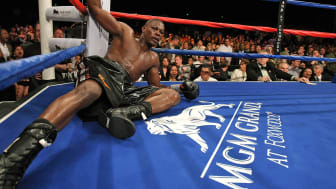 MASHANTUCKET, CT - APRIL 25:Jermain Taylor lays on the canvas after being knocked down in the 12th round by Carl Froch during their WBC Super Middleweight Championship bout at the MGM Grand a