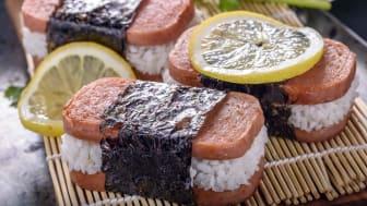 Spam served like sushi with lemons