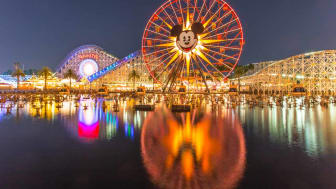 A view of the Disneyland resort in Southern California at night