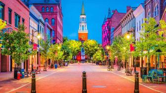 Vermont town, view of a main street looking toward a church