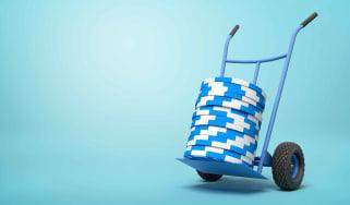 Blue poker chips on a trolley