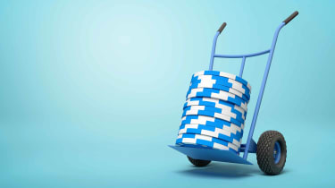 Blue poker chips on a trolley