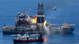 GULF OF MEXICO - JUNE 25:The Transocean Discoverer Enterprise drillship burns off gas collected at the BP Deepwater Horizon oil spill in the Gulf of Mexico off the coast of Louisiana on June