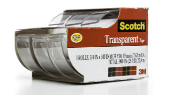 Miami, USA - July 13, 2014: Scotch 3M transparent tape 3 rolls dispenser package