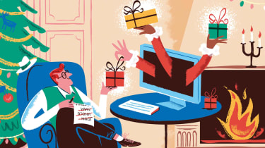 Illustration of a man ordering holiday gifts online.