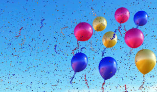 Balloons and confetti in the sky