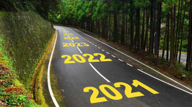A curvy road with 2021, 2022, 2023, 2024, 2025, etc. painted on it.