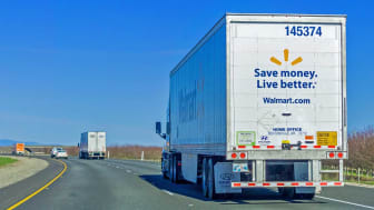 January 28, 2018 Sacramento / CA / USA - Walmart truck driving on the interstate on a sunny day