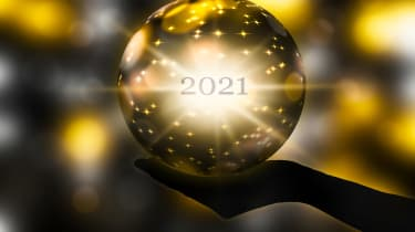 A crystal ball with 2021 inside.