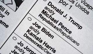 2020 election ballot showing Donald Trump and Joe Biden