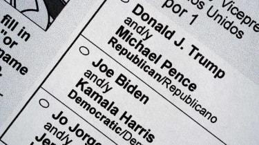 2020 election ballot showing Donald Trump and Joe Biden