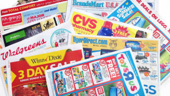 West Palm Beach, USA - June 15, 2013: Weekend sales papers for various stores. Stores include CVS Pharmacy, Walgreens, Winn Dixie and Publix supermarkets, Toys R Us, Tiger Direct.com, HH Greg