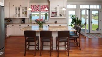Eat-In Kitchen Interior Design with Lake View, Hardwood Floor
