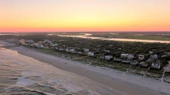 Homes along a beach