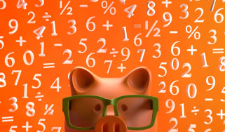 A piggy bank wearing glasses in front of a field of numbers.