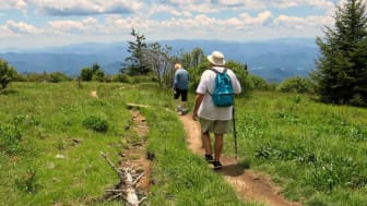 Senior couple hiking the Tennessee mountains