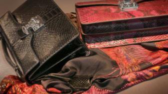 Luxury handbags and silk scarf