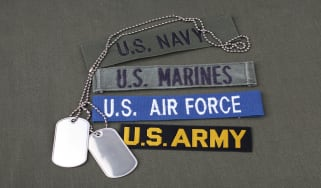 picture of dog tags and military patches