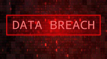Digital Binary Code on Dark Red BG. Data Breach Concept