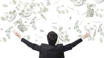 business man hug money