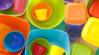 A closeup of multicolored Tupperware