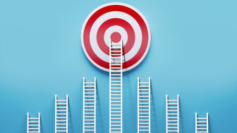 A ladder leads right to the bull's-eye of a target.