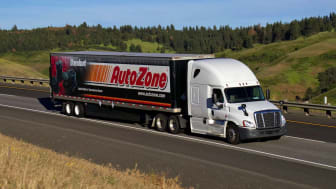 """Autozone"" Semi-Truck Driving along a Rural US Highway."