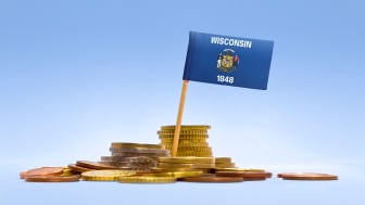 picture of Wisconsin flag in coins
