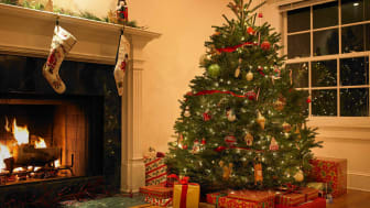 Christmas tree in living room with presents in front of a fireplace